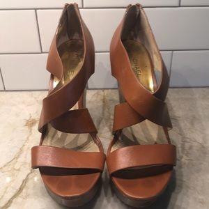 Michael Kors Brown Leather Wedges